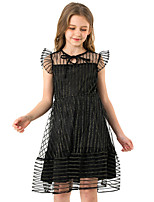 cheap -Kids Girls' Cute Street chic Striped Solid Colored Mesh Patchwork Sleeveless Knee-length Dress Black