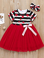 cheap -Kids Girls' Geometric Cartoon Short Sleeve Dress Red