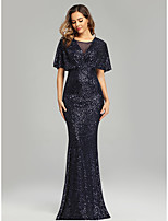 cheap -Mermaid / Trumpet Jewel Neck Floor Length Tulle / Sequined Sparkle / Blue Formal Evening / Wedding Guest Dress with Sequin 2020