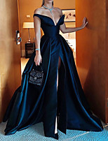 cheap -A-Line Sexy Blue Party Wear Formal Evening Dress Off Shoulder Sleeveless Sweep / Brush Train Polyester with Split Overskirt 2020