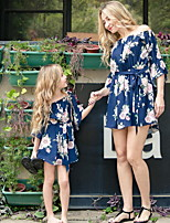 cheap -Mommy and Me Floral Clothing Set Black