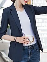 cheap -Women's Blazer, Plaid Notch Lapel Polyester Yellow / Navy Blue