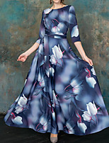 cheap -Women's Sheath Swing Dress - Floral Maxi Navy Blue S M L XL