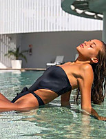 cheap -Women's Beach Girl Vintage 1980s Bikini Peplum Swimsuit Monokini Polyster Solid Color Black Leotard / Onesie