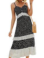 cheap -Women's Black Dress Sheath Polka Dot Strap S M