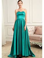 cheap -A-Line Strapless Sweep / Brush Train Charmeuse Minimalist / Turquoise / Teal Prom / Formal Evening Dress with Pleats 2020
