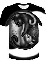 cheap -Kids Boys' Basic Street chic Cat Color Block 3D Animal Print Short Sleeve Tee Black
