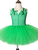 cheap -Green Forest Genie Costume for Girls Tutu Dress Kids Knee Length Fairy Garden Cosplay Costume