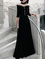cheap -A-Line High Neck Floor Length Polyester Elegant / Black Formal Evening / Party Wear Dress with Beading 2020