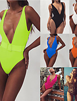 cheap -Women's V-Neck Belted One Piece Swimsuit Padded Swimwear Bodysuit Swimwear Fuchsia Orange Green Breathable Quick Dry Comfortable Sleeveless - Swimming Water Sports Summer / High Elasticity