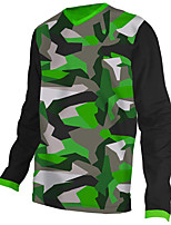 cheap -21Grams Men's Long Sleeve Cycling Jersey Downhill Jersey Dirt Bike Jersey 100% Polyester Black / Green Stripes Camo / Camouflage Bike Jersey Top Mountain Bike MTB Road Bike Cycling UV Resistant