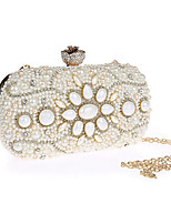 cheap -Women's Crystals / Pearls Polyester / Alloy Evening Bag Floral Print Black / Champagne / Beige