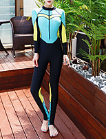 cheap -Women's One Piece Swimsuit Swimwear Bodysuit Breathable Quick Dry Long Sleeve Swimming Water Sports Patchwork Autumn / Fall Spring Summer / Winter / High Elasticity