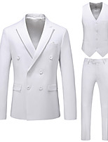 cheap -Tuxedos Tailored Fit Notch Double Breasted Four-buttons Polyester Solid Color