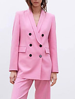 cheap -Women's Blazer, Solid Colored Notch Lapel Polyester Blushing Pink