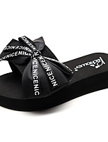 cheap -Women's Slippers & Flip-Flops Flat Heel Open Toe Bowknot Polyester Casual / Minimalism Walking Shoes Summer Black / Red / Blue / Slogan