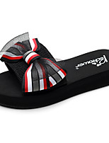 cheap -Women's Slippers & Flip-Flops Flat Heel Open Toe Bowknot Polyester Classic / Casual Walking Shoes Summer Black / Red / Pink / Striped