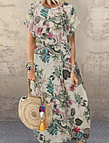 cheap -Women's Maxi Khaki White Dress Casual / Daily Spring & Summer Holiday Loose Floral Print M L