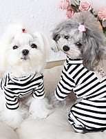 cheap -Dog Costume Jumpsuit Dog Clothes Breathable Black Costume Beagle Bichon Frise Chihuahua Cotton Stripes Casual / Sporty Cute XS S M L XL