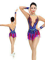 cheap -Rhythmic Gymnastics Leotards Artistic Gymnastics Leotards Women's Girls' Leotard Dark Blue Spandex High Elasticity Handmade Jeweled Diamond Look Long Sleeve Competition Dance Rhythmic Gymnastics