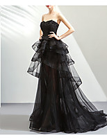 cheap -Ball Gown Strapless Sweep / Brush Train Lace / Tulle Hot / Black Prom / Formal Evening Dress with Tier 2020