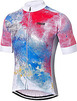 cheap -21Grams Men's Women's Short Sleeve Cycling Jersey 100% Polyester Red / White Gradient Bike Jersey Top Mountain Bike MTB Road Bike Cycling UV Resistant Breathable Quick Dry Sports Clothing Apparel