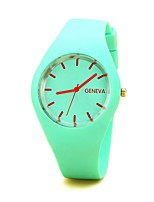 cheap -Women's Quartz Watches Casual Fashion Silicone Chinese Quartz Black White Sky Blue Cute 1 pc Analog