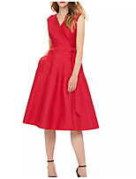 cheap -A-Line V Neck Knee Length Polyester Minimalist / Red Cocktail Party / Wedding Guest Dress with Sash / Ribbon / Pleats 2020