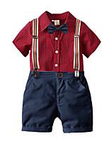 cheap -Kids Toddler Boys' Basic Birthday Party Party & Evening Plaid Short Sleeve Regular Regular Clothing Set Red