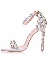 cheap -Women's Sandals Stiletto Heel Open Toe Rhinestone / Sparkling Glitter / Buckle PU Business / Minimalism Spring &  Fall / Spring & Summer White / Rainbow / Wedding / Party & Evening / Color Block
