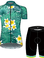 cheap -21Grams Women's Short Sleeve Cycling Jersey with Shorts Green / Yellow Floral Botanical Bike Breathable Quick Dry Sports Patterned Mountain Bike MTB Road Bike Cycling Clothing Apparel / Micro-elastic