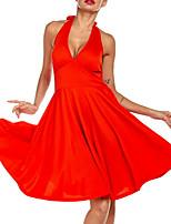 cheap -Latin Dance Club Costume Women's Performance POLY Bow(s) Dress