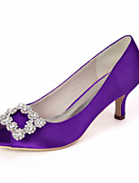cheap -Women's Wedding Shoes Stiletto Heel Peep Toe Rhinestone Satin Sweet Fall / Spring & Summer White / Purple / Champagne / Party & Evening