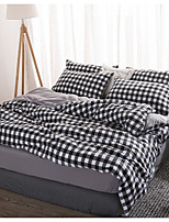 cheap -Duvet Cover Sets 4 Piece Linen / Cotton Plaid / Checkered Green Printed Simple