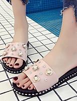 cheap -Women's Slippers & Flip-Flops Flat Heel Round Toe PU Summer Black / White / Fuchsia