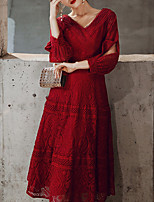 cheap -A-Line V Neck Tea Length Lace Elegant / Red Homecoming / Cocktail Party Dress with Pattern / Print 2020
