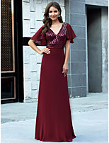 cheap -Sheath / Column V Neck Floor Length Chiffon Glittering / Red Formal Evening / Wedding Guest Dress with Sequin 2020
