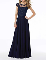 cheap -A-Line Illusion Neck Floor Length Chiffon Elegant / Blue Party Wear / Formal Evening Dress with Pleats / Beading / Appliques 2020