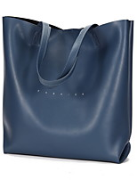 cheap -Women's Zipper Cowhide / PU Top Handle Bag Solid Color Black / Brown / Blue
