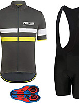 cheap -21Grams Men's Short Sleeve Cycling Jersey with Bib Shorts Black / Yellow Stripes Bike Clothing Suit UV Resistant Breathable 3D Pad Quick Dry Sweat-wicking Sports Solid Color Mountain Bike MTB Road