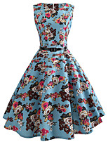 cheap -Women's Party Daily Vintage Style Street chic Swing Dress - Floral Print Patchwork Print Blue S M L XL