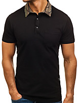 cheap -Men's Daily Going out Basic / Street chic Polo - Solid Colored Patchwork Black
