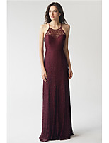 cheap -Sheath / Column Halter Neck Floor Length Lace Empire / Red Engagement / Formal Evening Dress with Criss Cross 2020