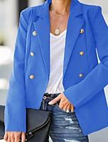 cheap -Women's Blazer, Solid Colored Notch Lapel Polyester Blushing Pink / Khaki / Royal Blue