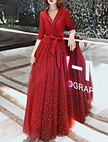 cheap -A-Line V Neck Floor Length Spandex / Tulle Glittering / Red Prom / Formal Evening Dress with Sash / Ribbon 2020