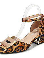 cheap -Women's Sandals Print Shoes Chunky Heel Round Toe Suede Spring & Summer Brown / Black