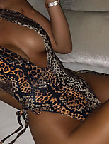 cheap -Women's Sexy Board Shorts Swimsuit Leopard Drawstring Normal Swimwear Bathing Suits Rainbow / One Piece / Padded Bras