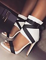 cheap -Women's Sandals Stiletto Heel Open Toe Buckle PU Business / Minimalism Spring &  Fall / Spring & Summer Black / White / Red / Party & Evening / Color Block
