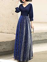 cheap -A-Line V Neck Floor Length Spandex Glittering / Blue Prom / Formal Evening Dress with Buttons / Sash / Ribbon 2020