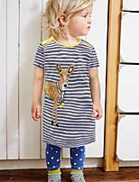 cheap -Kids Toddler Girls' Cute Street chic Striped Cartoon Print Short Sleeve Above Knee Dress Yellow
